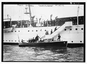 USS Mayflower (PY-1) - President Taft boards Mayflower on 14 October 1912