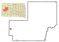 Meade County South Dakota Incorporated and Unincorporated areas Sturgis Highlighted.svg