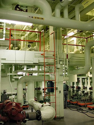 Pipefitter - Large-scale piping system in an HVAC mechanical room