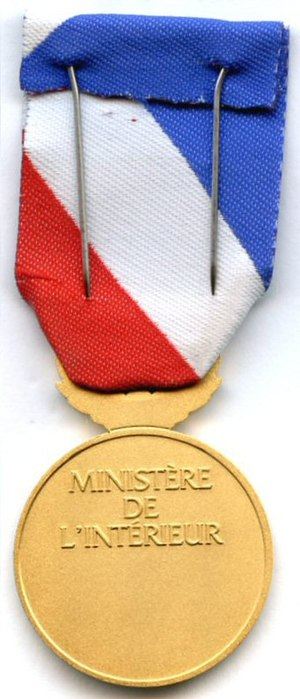 Medal for internal security - Image: Medaille de la securite interieure revers