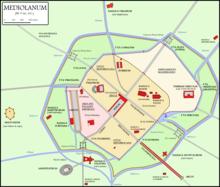 L'antica Milano romana (Mediolanum) con le mura e le porte, il forum (piazza principale), il teatro, l'anfiteatro, il circo, il palazzo imperiale, la zecca, le terme Erculee, il mausoleo imperiale e le basiliche paleocristiane