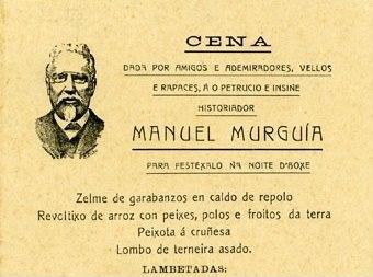 Menú do banquete celebrado en honor de Murguía o 2 de marzo de 1909 na Coruña