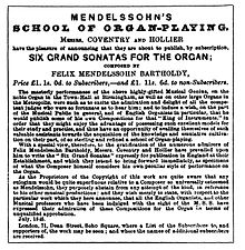 Advertisement for the Organ Sonatas in the Musical World, 24 July 1845 (Source: Wikimedia)