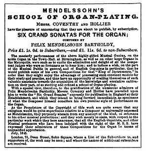 Organ Sonatas, Op. 65 (Mendelssohn) -  Advertisement for the Organ Sonatas in the Musical World, 24 July 1845