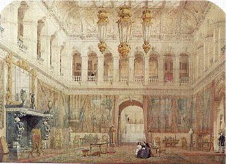 Hannah Primrose, Countess of Rosebery - Hannah de Rothschild and her mother in the Grand Hall at Mentmore. Aged just six months, Hannah Primrose had laid the foundation stone for the great mansion on 31 December 1851.