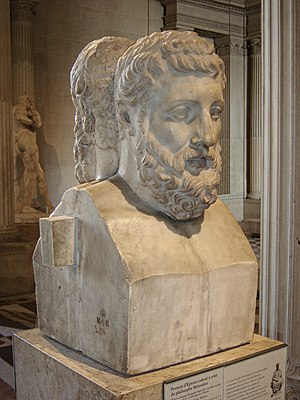 Metrodorus of Lampsacus (the younger) - Hermes-type bust (pillar with the top as a sculpted head) of Metrodorus leaned with his back against Epicurus, in the Louvre