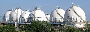 Storage tank - Spherical gas tank farm in the petroleum refinery in Karlsruhe MiRO