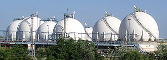 Storage tank - Spherical gas tank farm in the petroleum refinery in Karlsruhe MiRO