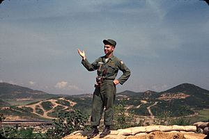 Michael Dukakis - Dukakis off duty at a gun emplacement overlooking UN Command Military Armistice Commission base camp at Munsan-ni Korea 1956.
