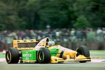 Michael Schumacher - Benetton B193B during practice for the 1993 British Grand Prix (33686665215).jpg