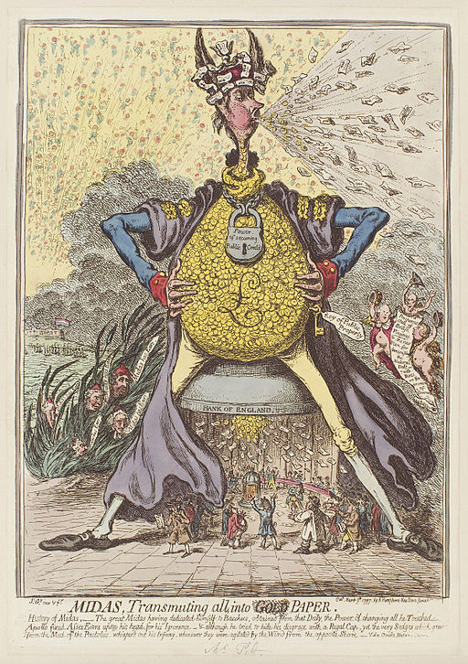 Midas, transmuting all, into paper by James Gillray