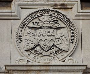 Middle Level Commissioners - Badge on former Middle Level Commissioners offices, March, Cambridgeshire