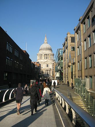 Queenhithe - Peter's Hill, which since the construction of the Millennium footbridge is a major pedestrian route, shown leading up to St. Paul's Cathedral.