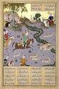 Mir Sayyid Ali, Bahram Gur Pins the Coupling Onagers, Folio from the Shahnama (Book of Kings) of Shah Tahmasp 1530-35, Metmuseum.jpg