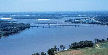 The Mississippi River just north of St. Louis ...