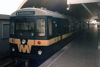 Rotterdam Metro - Train 5119, built by Düwag, at De Akkers. This train is retired.