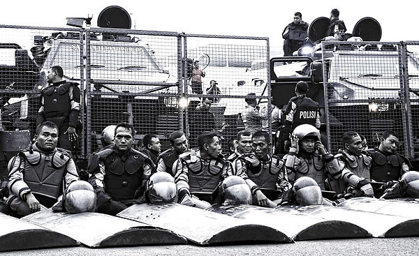 Indonesian Mobile Brigade Corps riot control personnel and equipment Mobile Brigade officers and equipment.jpg