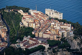 Oceanographic Museum of Monaco - Aerial view of the Rock with the museum.