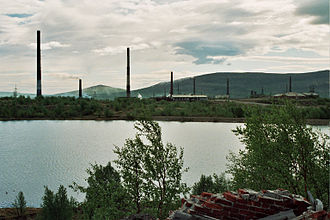 Murmansk Oblast - A Norilsk Nickel plant (formerly, Severonikel) in Monchegorsk