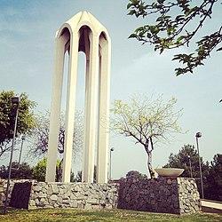 Đài tưởng niệm chiến tranh Trận Rio San Gabriel nhìn ra sông Rio Hondo