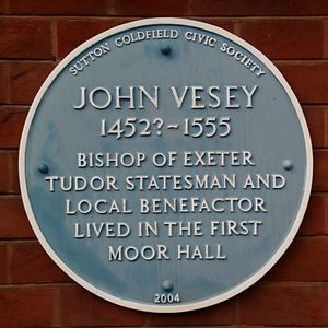 John Vesey - Blue plaque at Moor Hall