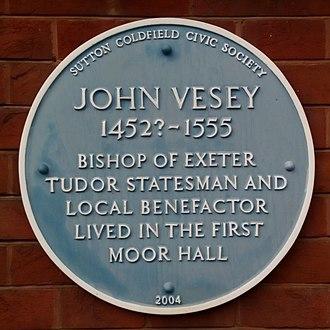 John Vesey - Blue plaque at Moor Hall
