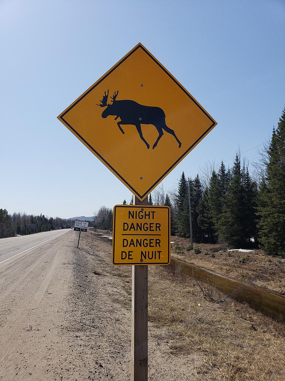 Moose crossing warning sign