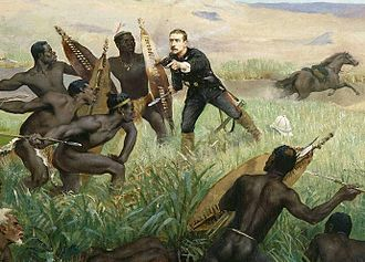 Napoléon, Prince Imperial - Death of the Prince impérial during the Anglo-Zulu War, detail of a painting by Paul Jamin