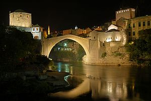 Stari Most in Mostar at night