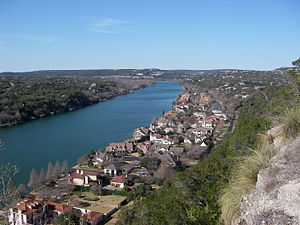 Mount Bonnell - View of Lake Austin from the summit of Mount Bonnell