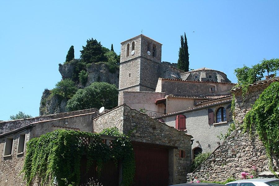 Mourèze (Hérault) - église Sainte-Marie (XIVe siècle).