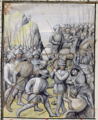 Ms 659 f.137 r. The Flemish defeat the French Army at the Battle of the Golden Spurs near Courtrai in 1302.png