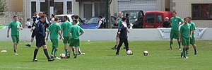 Sport in Guernsey - Guernsey footballers warm up before the 2012 Muratti final