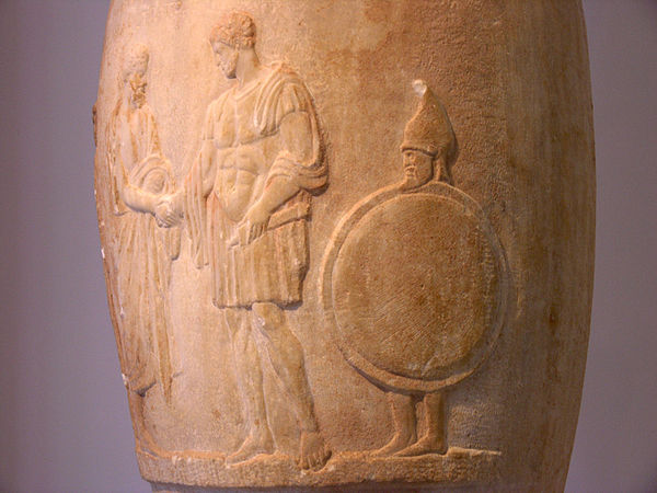 Funerary loutrophoros; on the right a bearded slave carries his master's shield and helm, 380–370 BC, National Archaeological Museum of Athens