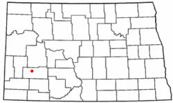 Location of Dickinson, North Dakota