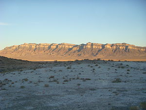 House Range - Northern part of the House Range at sunset-(Swasey Mountain section), showing the stratigraphy