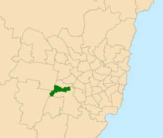 Electoral district of Liverpool - Location within Sydney