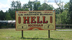 U.S. weather station sign in Hell