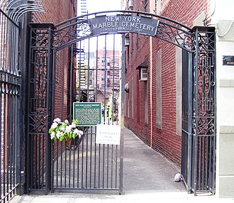 New York Marble Cemetery - The entrance gate on Second Avenue (2011)