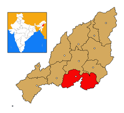 Phek district's location in Nagaland