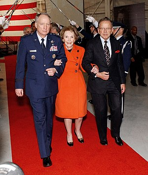 Ted Stevens - Stevens escorts former first lady Nancy Reagan at the Ronald Reagan Ballistic Missile Defense Test Site dedication ceremony, April 10, 2006