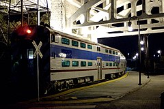 A Music City Star commuter train beneath the Shelby Street Bridge