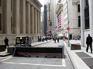 Nassau Street (Manhattan) - South end of Nassau Street; Federal Hall National Memorial is on the left, the New York Stock Exchange is in the distance on the right