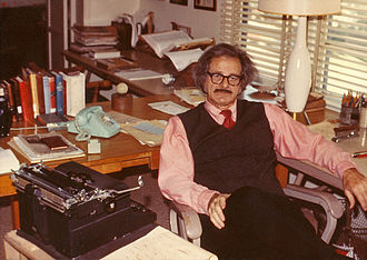 Norman Corwin - Norman Corwin with typewriter, 1973
