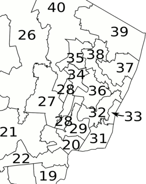New Jersey Legislative Districts, 2001 apportionment - detail of northeastern portion