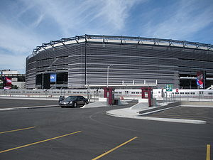 Meadowlands Rail Line - Station (foreground) at  MetLife Stadium