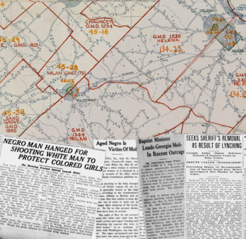 Map with B&W news paper articles