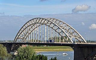 Waalbrug arch bridge over the Waal River in Nijmegen, the Netherlands.
