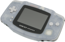Console Game Boy Advance blanche légèrement transparente.