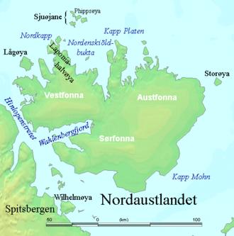 Hinlopen Strait - Hinlopen Strait to the left.